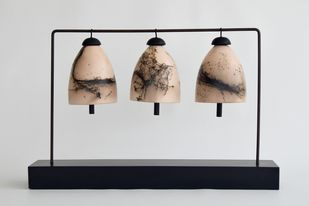 Silent Chimes 2 by Shweta Mansingka, Decorative Sculpture | 3D, Ceramic, Gray color