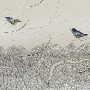 Flight Paths - II by Ushmita Sahu, Illustration, Impressionism Painting, Acrylic on Paper, Gray color
