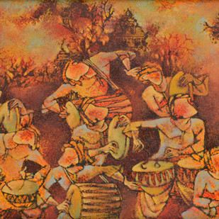 Folk Dance by S Krishnappa, Impressionism Painting, Oil on Canvas, Brown color