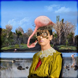 The Darwinian Woman by TANYA MEHTA, Surrealism Digital Art, Giclee Print on Hahnemuhle Paper, Cyan color