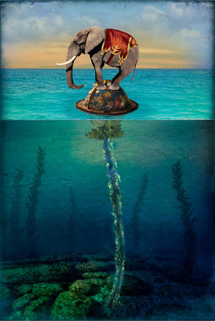 Roots In Desolate Places by TANYA MEHTA, Surrealism Digital Art, Print on Canvas, Green color