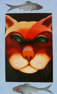 UNTITLED-VI by SK NUR ALI, Decorative Painting, Acrylic on Canvas, Brown color