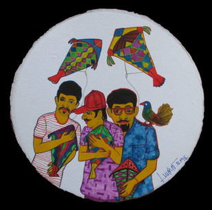 KITE LOVERS by LOKESH B H, Expressionism Painting, Watercolor on Paper, Brown color
