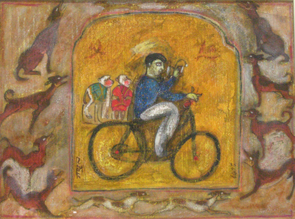 Cycle by SUBRATO MONDAL, Expressionism Painting, Mixed Media on Paper, Brown color