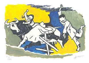 IQBAL by M F Husain, Illustration Printmaking, Print on Paper, Beige color