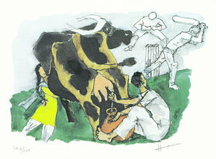 IQBAL by M F Husain, Illustration Printmaking, Print on Paper, White color