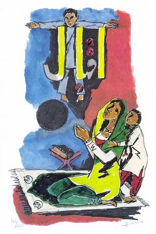 IQBAL by M F Husain, Impressionism Printmaking, Print on Paper, White color