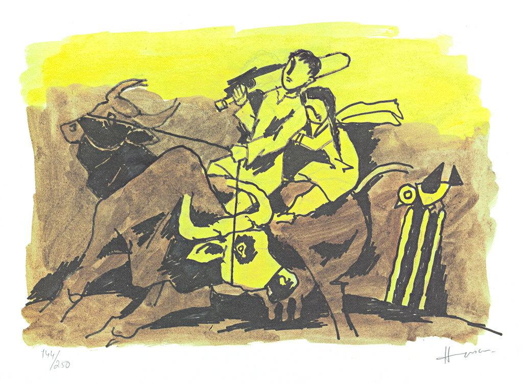 IQBAL by M F Husain, Folk Printmaking, Print on Paper, Beige color