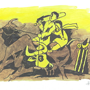 IQBAL by M F Husain, Folk Printmaking, Print on Paper, Beige color