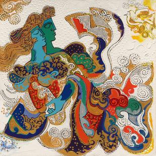 THE WORLD OF RAVINDRA SALVE by Ravindra Salve, Decorative Painting, Acrylic on Canvas, Beige color