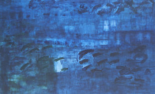 Mindscape 3 by Prakash Bal Joshi , Impressionism Painting, Acrylic on Canvas, Blue color