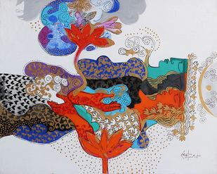 THE WORLD OF RAVINDRA SALVE by Ravindra Salve, Decorative Painting, Acrylic on Canvas, Gray color