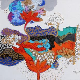 THE WORLD OF RAVINDRA SALVE by Ravindra Salve, Decorative Painting, Acrylic on Canvas, Gray color