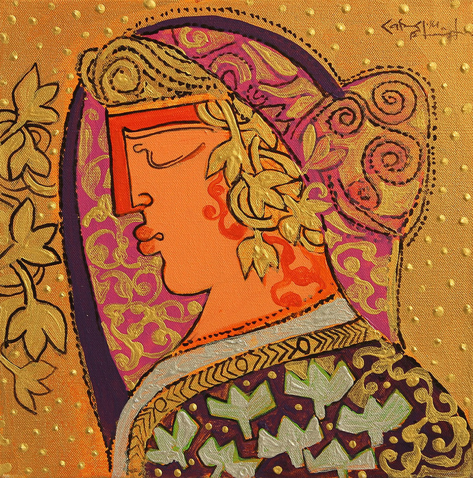 THE WORLD OF RAVINDRA SALVE by Ravindra Salve, Decorative Painting, Acrylic on Canvas, Brown color