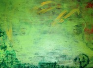PBJ Abstraction 214 by Prakash Bal Joshi , Impressionism Painting, Oil on Canvas, Green color