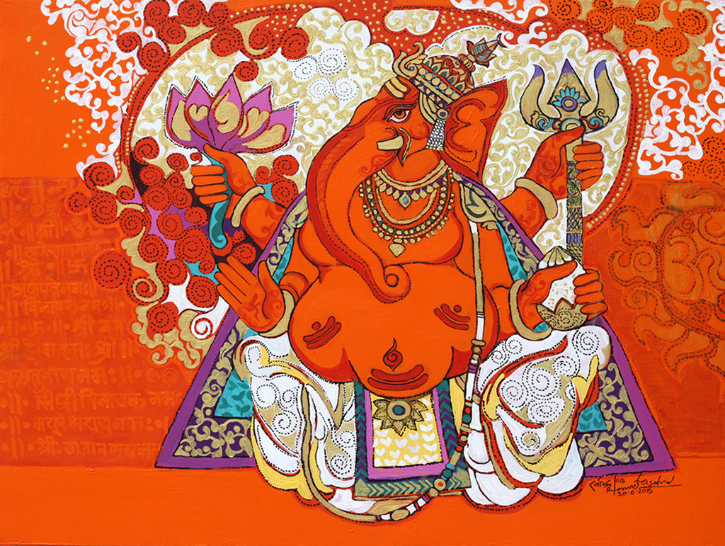 THE WORLD OF RAVINDRA SALVE by Ravindra Salve, Decorative Painting, Acrylic on Canvas, Orange color