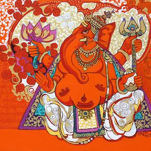THE WORLD OF RAVINDRA SALVE by Ravindra Salve, Decorative Painting, Acrylic on Canvas, Orange color