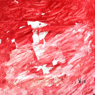 Erosion by Prakash Bal Joshi , Abstract Painting, Acrylic on Canvas, Red color
