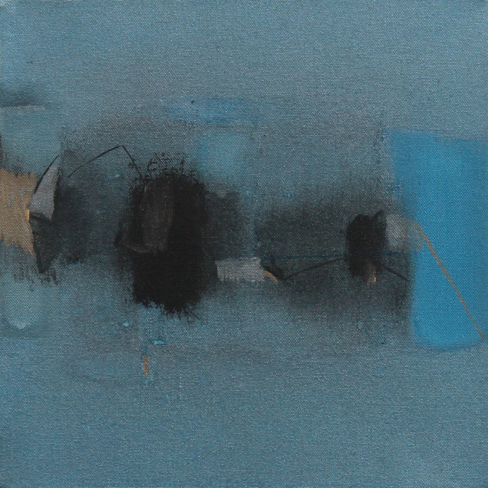 Blue 74 by Deepak Madhukar Sonar, Abstract Painting, Acrylic on Canvas, Green color