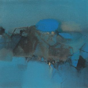 BLUE [2 by Deepak Madhukar Sonar, Abstract Painting, Acrylic on Canvas, Blue color