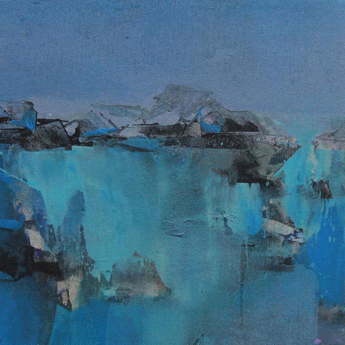 Blue 97 by Deepak Madhukar Sonar, Abstract Painting, Acrylic on Canvas, Blue color