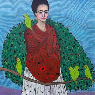 Mithu mithu tota by Himanshu Lodwal, Expressionism Painting, Acrylic on Canvas, Cyan color