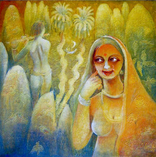 VIBRATION by Prodyut Kumar Pal, Traditional Painting, Acrylic on Canvas, Green color
