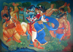 RASH LILA by Prodyut Kumar Pal, Traditional Painting, Acrylic on Canvas, Brown color