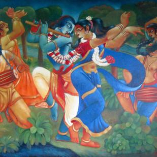 RASH LILA by Prodyut Kumar Pal, Traditional Painting, Acrylic on Canvas, Brown color