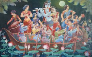 NOUKABILASH by Prodyut Kumar Pal, Traditional Painting, Acrylic on Canvas, Green color