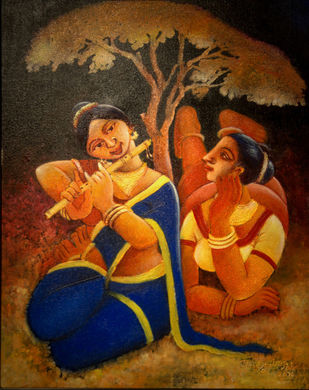 FRIENDSHIP by Prodyut Kumar Pal, Traditional Painting, Acrylic on Canvas, Brown color