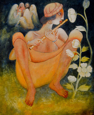 BANSURIA by Prodyut Kumar Pal, Traditional Painting, Acrylic on Canvas, Brown color