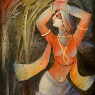 MUSIC GESTURE by Prodyut Kumar Pal, Traditional Painting, Acrylic on Canvas, Brown color