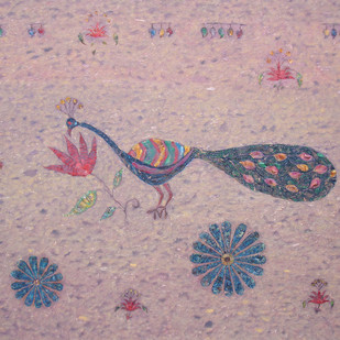 untitled 1001 by Sharda Patel, Folk Painting, Oil on Canvas, Brown color