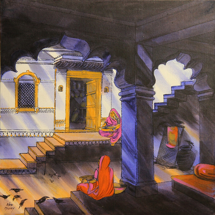 VIRASAT by Natu Mistry, Realism Painting, Acrylic on Canvas, Brown color