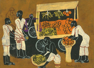 VEGETABLE VENDOR by Ratan Parimoo, Folk Painting, Acrylic on Board, Brown color