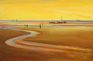 BY THE SEA by Natu Parikh, Impressionism Painting, Oil on Canvas, Brown color