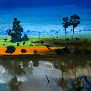 life by Santosh Keshari , Impressionism Painting, Acrylic on Canvas, Blue color