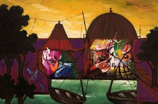 Morning light at Banaras by Manu Parekh, Realism Painting, Acrylic on Canvas, Brown color