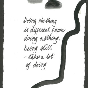 Doing No Thing by Satish Gupta, Illustration Drawing, Graphite on Paper, Gray color