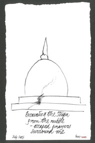 Excavating the Stupa by Satish Gupta, Illustration Drawing, Graphite on Paper, Gray color