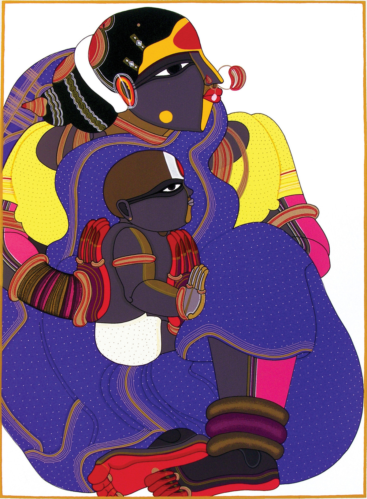 Untitled by Thota Vaikuntam, Expressionism Printmaking, Serigraph on Paper, Blue color
