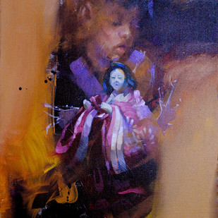 Me and the Japanese Doll VI by Raj Maji, Impressionism Painting, Acrylic on Canvas, Brown color
