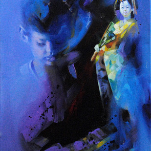 Me and the Japanese Doll VIII by Raj Maji, Impressionism Painting, Acrylic on Canvas, Blue color