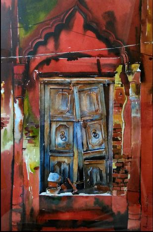 NOSTALGIA by Avanish Trivedi, Expressionism Painting, Watercolor on Paper, Brown color