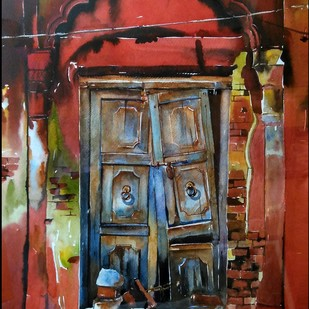 Kolkata painting.. Calcutta NOSTALGIA by Avanish Trivedi, Expressionism Painting, Watercolor on Paper, Brown color