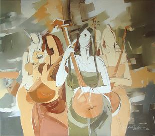 Musicians by Wilson Souza, Impressionism Painting, Oil Pastel on Canvas, Beige color