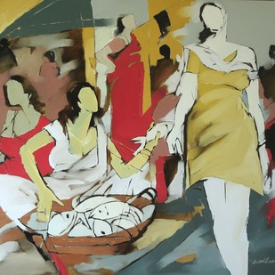 Fisher women by Wilson Souza, Impressionism Painting, Oil on Canvas, Brown color