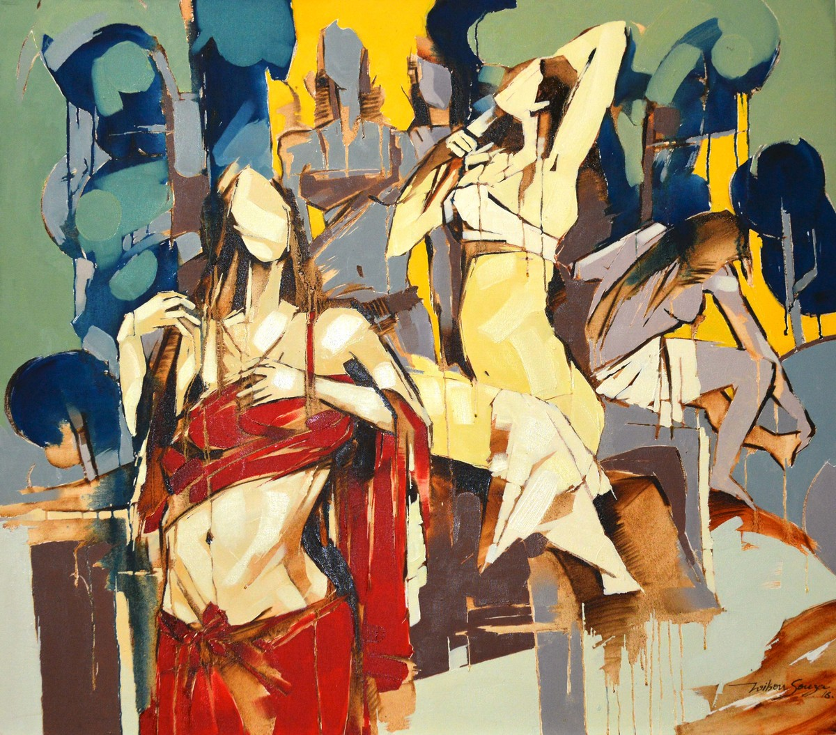 Sense of Freedom by Wilson Souza, Expressionism Painting, Oil on Canvas, Beige color