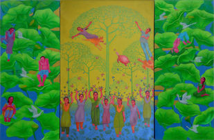 RE-FORMATION 02 by Partha Mondal, Traditional Painting, Oil & Acrylic on Canvas, Green color